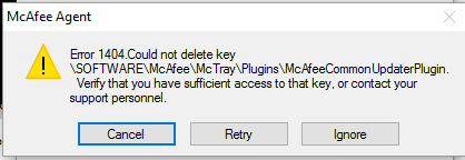 Solved Mcafee Support Community Issue Uninstalling Agent Mcafee Support Community